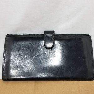 b8,209 Coach Checkbook Wallet Black Leather